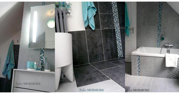 Cr ation d 39 une salle de bain sous combles en gris bleu for Accessoire salle de bain bleu turquoise
