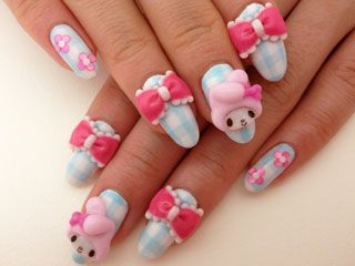 Japanese 3d Nails My Melody Flowers Handmade Fake Nails Kawaii 3d Nails Kawaii Nails Fun Nails