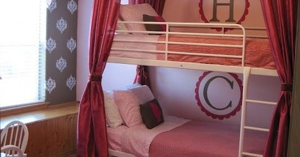 DIY frame/curtain over bunk beads using bed skirt and curtain panels. Cute