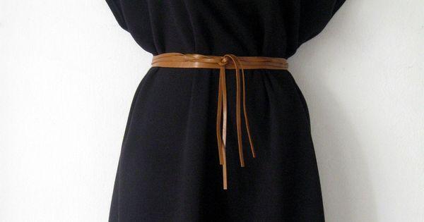 black kimono dress with tan leather belt - literally fold a 2