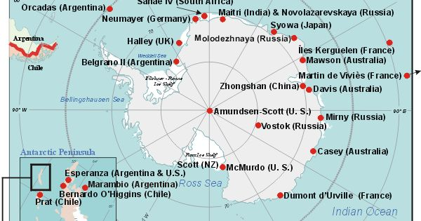 Map Of Antarctica Bases Tidal Treasures - Antarctic research stations map