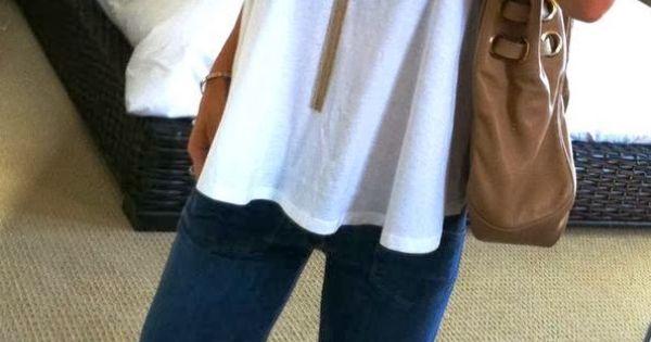 Wide leg jeans, white tank top.