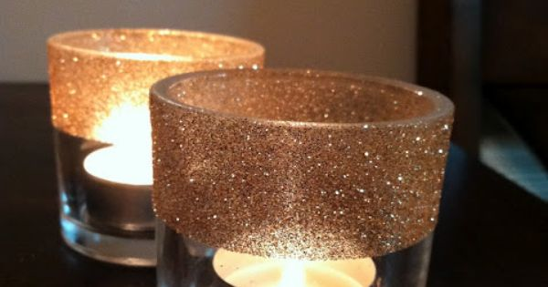 DIY - Glitter Votives using Spray-On Elmers Glue + Glitter. Full Step-by-Step