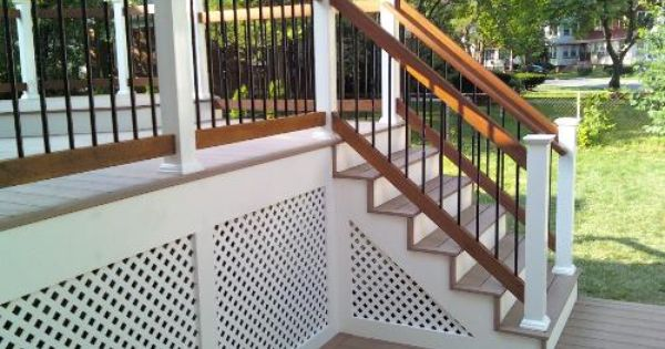 Pretty White Lattice Skirting On Deck Outdoors