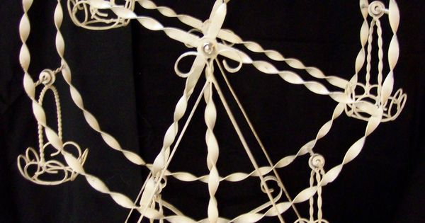 Vintage White Wrought Iron Spinning Ferris Wheel Planter
