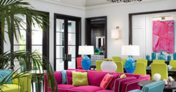 Elegant Neon Wall Paint Colors Decorating Ideas in Living Room Tropical design