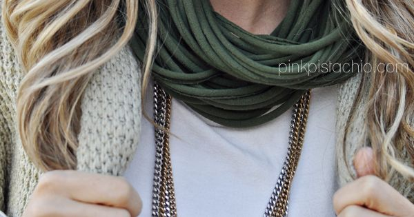 Easy peasy infinity scarf from a mens t-shirt -- with complete step-by-step.
