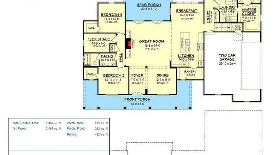 Plan 51745HZ: Country House Plan With Flex Space And Bonus