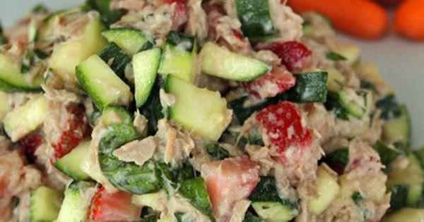 Tuna salad with zucchini and strawberries under 200 for Tuna fish salad calories