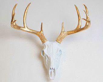 Faux Deer Skull In White Deer Skull In By Whitefauxtaxidermy Faux Deer Painted Deer Skulls Deer Skulls