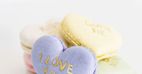 Give your Valentine of all ages something sweet, nostalgic, and homemade with the DIY conversation heart macarons.