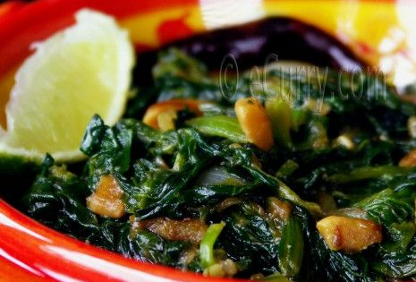 Spinach with Fried Garlic and Caramelized Onions | eCurry - The Recipe ...