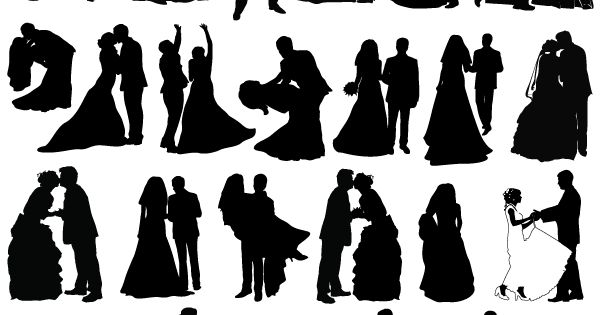newly married couple silhouettes free vector fotografia pinterest silhouetten geschenk. Black Bedroom Furniture Sets. Home Design Ideas