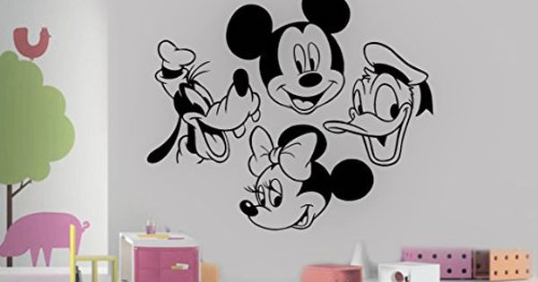 Mickey Mouse Minnie Goofy Donald Duck Head Disney Cartoon Characters For Kids Children R Baby Wall Stickers Birthday Decorations Kids Disney Cartoon Characters