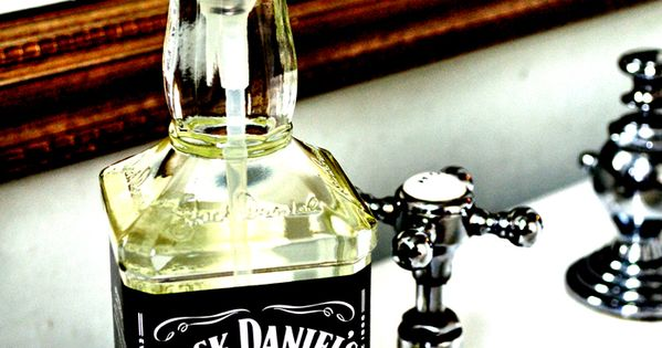 Jack Daniels Soap Dispenser by Curly Birds. So cool. Mancave bathroom!