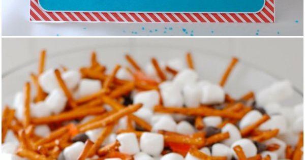 Snowman Snack Mix - marshmallow body, pretzel stick arms ...