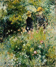 Pierre-Auguste Renoir - Reunión en el jardín de rosas ...