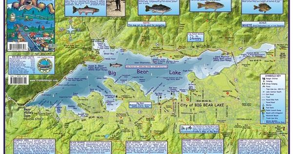 big bear lake fishing map Big Bear Lake Fishing Boating Recreation Waterways Map California big bear lake fishing map