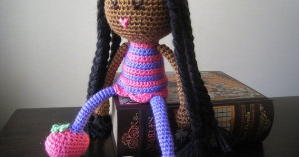 Crochet African American Plush Vegan Doll Black Braids Glasses Pink ...
