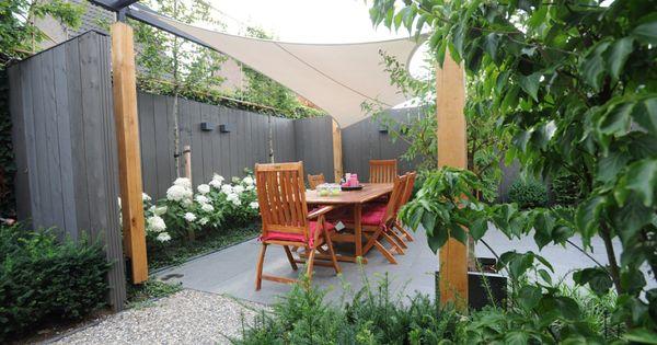 Zonnedoek schutting hortensia 39 s beplanting kleine tuin kleine moderne tuin www - Kleine tuin zen buiten ...