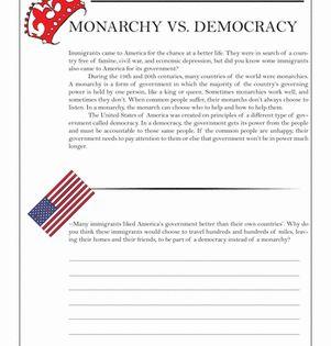 Monarchy Vs Democracy Worksheet Education Com Social Studies Worksheets Interactive Notebooks Social Studies Social Studies