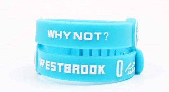 """Russell Westbrook Silicone Wristband Bracelet NBA Russell Westbrook  Silicone Wristband Says """"Why Not?"""" and """"Westbrook 0"""" on it. Comes with 1  Wristband. Appro…"""
