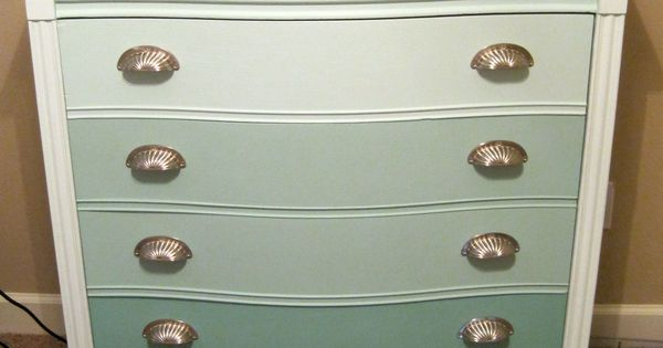 Ombre dresser done using homemade chalk paint made of for Chalk paint at sherwin williams