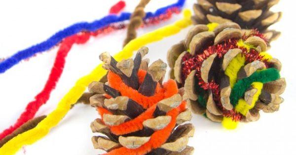 Nature inspired craft - Pine Cone Weaving - Rainy Day Mum great