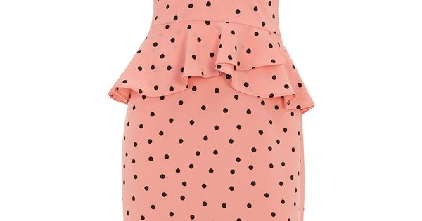 Coral polka dot peplum dress retro vintage 1940s