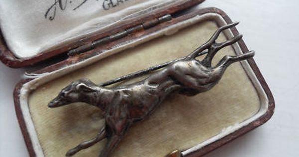 Racing Greyhound Brooch Pin Antiqued Brass great details /& finish vintage