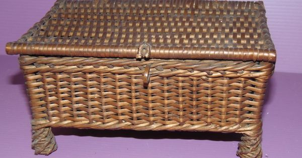 adorable paniere coffre maison de poupee paille tressee vieux jouet ancien 1900 basket. Black Bedroom Furniture Sets. Home Design Ideas