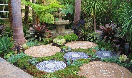 Mosaic stepping stones. Back yard