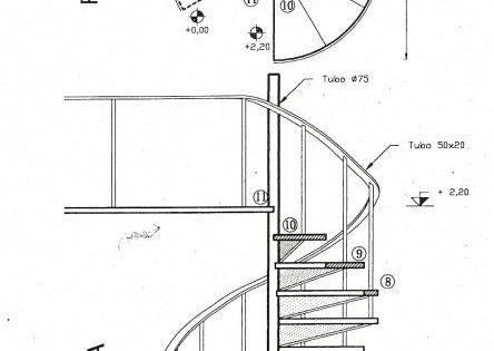Escalera caracol planta y vista escaleras pinterest - Dimensiones escalera de caracol ...