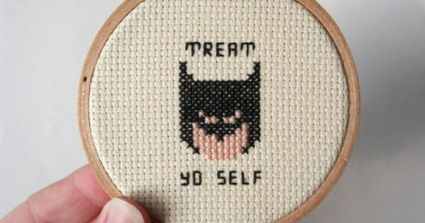 Treat Yo Self Cross Stitch -- embroidery for bros, stocking stuffer ... Leslie Knope Ovaries Before Brovaries