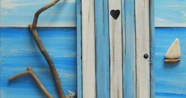 Tableau en bois flott la cabine de plage d coration for Plan cabine de plage en bois