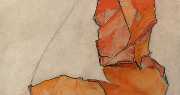 Kneeling Female in Orange-Red Dress, Egon Schiele, 1910. Egon Schiele June 12,