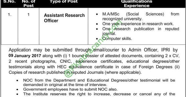 Assistant Research Officer IPRI Pakistan Jobs Apply Online Jobs - noc certificate for employee