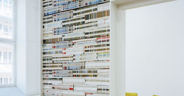 elevator lobby wall - this idea but with the ends of books,