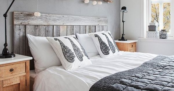wohnungseinrichtung im skandinavischen stil rustikaler nachttisch im schlafzimmer grau grey. Black Bedroom Furniture Sets. Home Design Ideas