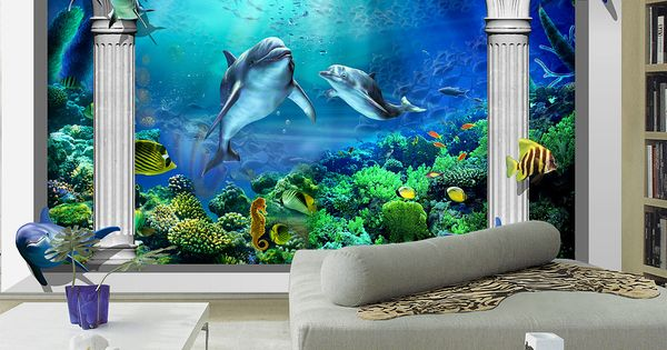 trompe l 39 oeil dauphins colonne papier peint 3d fond marin pinterest dauphins trompe and. Black Bedroom Furniture Sets. Home Design Ideas