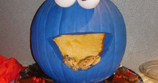 cookie monster pumpkin - halloween pumpkin carving