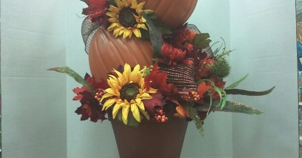 Topiary of pumpkins fall pinterest fall decor for 3 tier pumpkin decoration