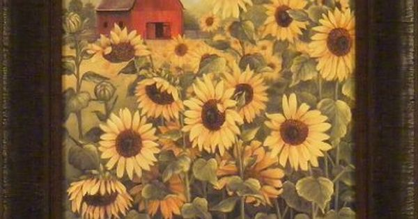 Field of sunflowers by glynda turley 17x21 red barn yellow for Glynda turley painting