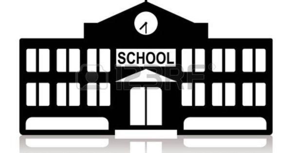 School Building In Black And White School Building Clipart Black And White Black And White Illustration