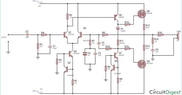 100 Watt Power Amplifier Circuit Using Mosfet Power Amplifiers Electronics Circuit Circuit