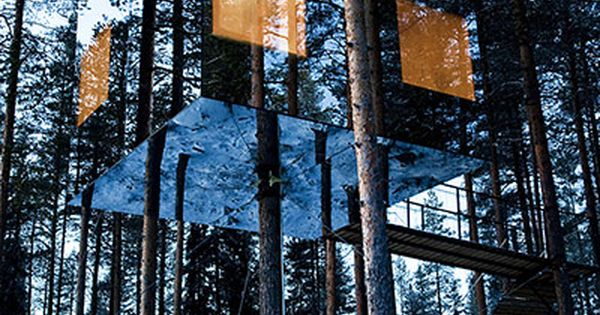 Mirrored tree house in Sweden TreeHouses Architecture LifeStyle LuxuryLiving CapeReed Thatch Timber