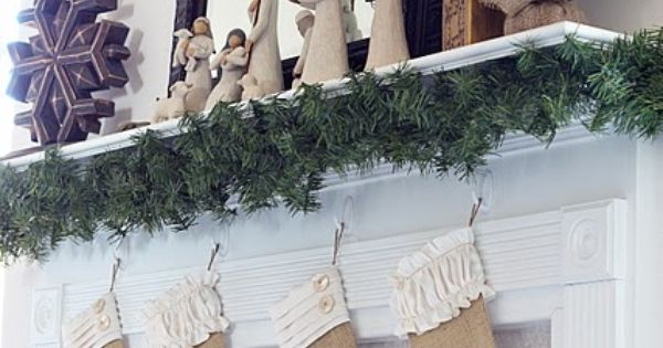 Burlap Christmas Stockings - with garland under the mantle
