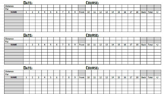 graphic about Disc Golf Scorecard Printable named Golfing Scorecards Printable: Printable Golfing Scorecards