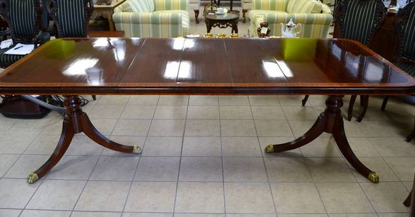 Mahogany and satin wood banded inlay double pedestal for Duncan 5 dining room table