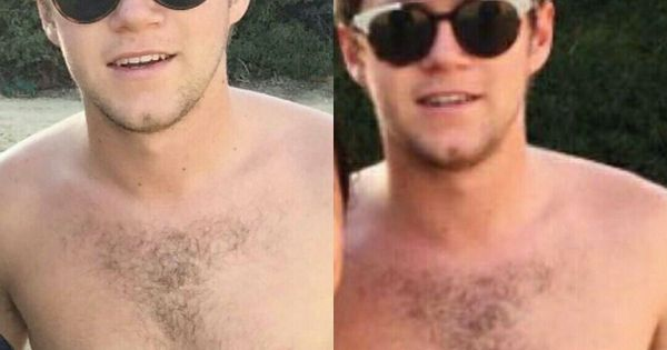 niall all shirtless with lovely chest hair and so sweet